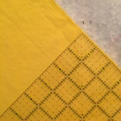 """Along the grain, mark 2"""" from edge on both sides (selvedge edges)"""